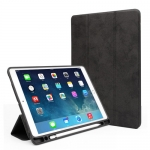 Чехол Silicon Case для iPad 9.7 2017 с держателем для стилуса Apple Pencil Черный