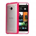Накладка бампер для HTC One M7 розовый