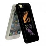 накладка iphone 5/5s лебеди с кристаллами swarovski черный